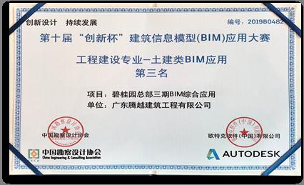 全国创新杯BIM大赛 第三名
